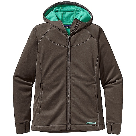 On Sale. Free Shipping. Patagonia Women's Slopestyle Hoody DECENT FEATURES of the Patagonia Women's Slopestyle Hoody Soft, stretchy polyester sheds moisture and light snow High collar with brushed fleece interior for warmth and protection Cozy fleece-lined hood draw cords cinch down for extra protection on blustery days not helmet-compatible Cuffs feature thumb loops for wrist coverage Hem cinches to keep out cold draw cord exits into hand warmer pockets for adjustment Pockets: two hand warmers and two hidden security The SPECS Regular fit Weight: 18 oz / 510 g 7.5-oz 75-denier 100% polyester knit bonded to polyester micro-fleece, with a DWR finish This product can only be shipped within the United States. Please don't hate us. - $89.99
