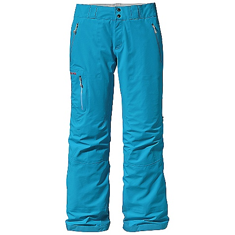 On Sale. Free Shipping. Patagonia Women's Primo Pant DECENT FEATURES of the Patagonia Women's Primo Pant Tough 3-layer recycled nylon Gore-Tex fabric protects against cold and wet snow Waist details: Brushed tricot lining wicks moisture Adjustable elastic tabs customize the fit Two-snap closure and zip fly Loops on rear yoke attach pants to powder skirt of any Patagonia Snow jacket Slim Zip installation with watertight-coated zippers reduce bulk and weight Gusseted crotch and articulated knees improve mobility and reduce bulk External thigh vents quickly release heat Gaiters keep snow out Tough scuff guards protect inside of leg and bottom hem Zippered Pockets: Two handwarmers and one right thigh The SPECS 3-layer, 5.6-oz 70-denier 100% recycled nylon Gore-Tex fabric with a DWR (durable water repellent) finish Weight: 19.9 oz / 564 g This product can only be shipped within the United States. Please don't hate us. - $258.99