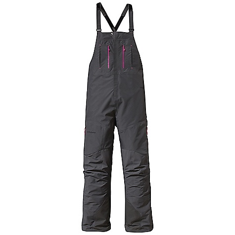 Ski Free Shipping. Patagonia Women's Super Alpine Bibs DECENT FEATURES of the Patagonia Women's Super Alpine Bibs Durably waterproof/windproof and breathable 3-layer nylon Gore-Tex Pro fabric resists the wettest, coldest, most persistent weather Full-coverage bibs with hook-and-loop adjustable suspenders and Drop Seat configuration Harness - and pack-compatible chest pockets feature supple, watertight-coated Slim Zips that reduce bulk and weigh Pressed Pleat Pockets add volume without additional seams Thigh pockets with Slim Zips reduce bulk and weight Articulated seat and knees enhance mobility Watertight, fully separating side zips for easy on/off with boots Ski-boot-compatible lower leg with external scuff guard, internal gaiter, gripper elastic cuffs and tie-down loops The SPECS Regular fit Weight: 22.2 oz / 629 g Shell: 3-layer, 3.8-oz 40-denier 100% nylon Gore-Tex Pro fabric Reinforcements: 3-layer, 4.9-oz 150-denier 100% nylon Gore-Tex Pro fabric Shell and reinforcements have a DWR (durable water repellent) finish This product can only be shipped within the United States. Please don't hate us. - $599.00