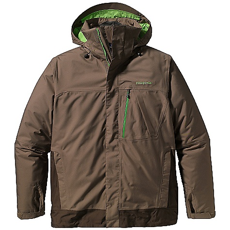 Ski Free Shipping. Patagonia Men's 3 - In - 1 Snowshot Jacket DECENT FEATURES of the Patagonia Men's 3-in-1 Snowshot Jacket Durable 2-layer polyester has a waterproof/breathable H2No barrier, and a Deluge DWR (durable water repellent) finish for storm protection Slick mesh liner wicks away moisture Versatile, puffy zip-out liner features a lightweight polyester shell with warm 60-g Thermogreen insulation that stays warm even when wet, and the quilted construction reduces bulk Removable, helmet-compatible, 2-way-adjustable hood with laminated visor for optimal visibility in bad conditions Tall collar protects neck and face, even with the hood down Pit zips quickly release heat Pleated gusset comfortably secures cuff, over or under gloves, with less bulk Snow seal powder skirt is adjustable and fully featured Webbing loops connect to any Patagonia Ski/Snowboard Pants to keep the snow out and the skirt down Pockets: Two hand warmers, one chest, one interior drop-in and one interior zippered pocket, includes a drop-in media pocket with cable routing Zip-out liner has two hand pockets and one interior zippered pocket Shell jacket hem can cinch for extra chilly days Drawcord exits into hand pockets for easy adjustments The SPECS Regular fit Weight: 47.1 oz / 1335 g Shell: 2-layer, 5.6-oz 150-denier 100% polyester with a waterproof, breathable H2No barrier and a Deluge DWR (durable water repellent) finish Zip-Out Liner: 1.3-oz 22-denier mini-ripstop polyester Lining: 2-oz 100% polyester plain weave Both shell and lining have a DWR finish, 100% polyester mesh Insulation: 60-g Thermogreen 100% polyester (90% recycled) This product can only be shipped within the United States. Please don't hate us. - $399.00