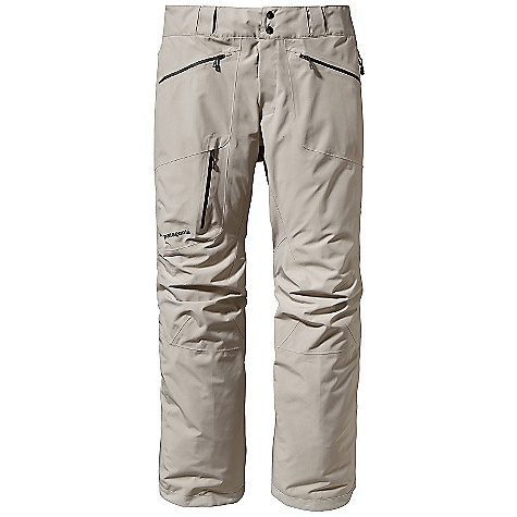 Free Shipping. Patagonia Men's Slim Powder Bowl Pant DECENT FEATURES of the Patagonia Men's Slim Powder Bowl Pant Durable 2-layer polyester Gore-Tex fabric keeps you dry during a heavy snowstorm A combination of a brushed and slick mesh lining keeps you warm and wicks away moisture Waist details: Soft, brushed tricot lining wicks moisture Adjustable elastic tabs customize the fit Two-snap closure and zip fly Loops on rear yoke attach pants to powder skirt on any Patagonia Snow jacket to keep snow out Slim Zip installation with watertight coated zippers for reduced bulk and weight Gusseted crotch and articulated knees improve mobility and reduce bulk External thigh vents quickly release heat Gaiters keep the snow out, while tough scuff guards protect inside of leg and bottom hem Zippered pockets: two hand warmers, one back hip and one right thigh The SPECS Slim fit Weight: 26.1 oz / 739 g 2-layer, 4.6-oz 150-denier 100% polyester Gore-Tex fabric with a DWR (durable water repellent) finish Lining: Seat and Upper Thighs: 100% brushed polyester mesh Legs: 100% polyester mesh This product can only be shipped within the United States. Please don't hate us. - $299.00
