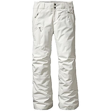 On Sale. Free Shipping. Patagonia Women's Insulated Powder Bowl Pant DECENT FEATURES of the Patagonia Women's Insulated Powder Bowl Pant Durable 2-layer polyester Gore-Tex fabric keeps you dry during a heavy snowstorm Thermogreen insulation stays warm even when wet Waist details: Brushed tricot lining wicks moisture Adjustable elastic tabs customize the fit Two-snap closure and zip fly Loops on rear yoke attach pants to powder skirt on any Patagonia Snow jacket to keep snow out Slim Zip installation with watertight-coated zippers reduce bulk and weight Gusseted crotch and articulated knees improve mobility and reduce bulk External thigh vents quickly release heat Gaiters keep snow out Tough scuff guards protect inside of leg and bottom hem Zippered Pockets: Two handwarmers, one right thigh The SPECS Regular fit Weight: 27.6 oz / 782 g 2-layer, 4.5-oz 150-denier 100% polyester Gore-Tex fabric with a DWR (durable water repellent) finish Lining: 2-oz 100% polyester plain weave Insulation: 60-g Thermogreen 100% polyester (90% recycled) This product can only be shipped within the United States. Please don't hate us. - $207.99