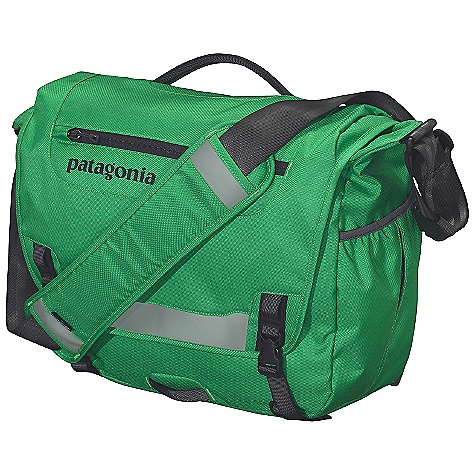 Entertainment Free Shipping. Patagonia Half Mass Bag DECENT FEATURES of the Patagonia Half Mass Bag Main flap opens to largest compartment housing one drop pocket, one mesh pocket, one padded electronics pocket, and three slots for pens exterior, zippered pocket on flap has moisture-shedding reverse coil zipper Interior padded computer sleeve raised off the ground cradles most 15in. laptops and secures with a buckle and strap Front flap has reflective panel and a webbing bike-light mount Side-mounted water-bottle pocket Interior drop pocket secures with hook-and-loop tab for quick access to boarding passes, magazines or newspapers Fully adjustable shoulder strap with floating pad, three-point adjustable stability strap and top-side carrying handle The SPECS Weight: 1 lb 13 oz / 822 g Volume: 1220 cubic inches / 20 liter Body: 8.4-oz 600-denier 100% recycled polyester Lining: 3.3-oz 200-denier polyester Both with a polyurethane coating This product can only be shipped within the United States. Please don't hate us. - $89.00