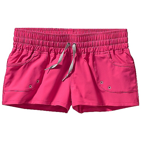 Surf Patagonia Women's Santa Ana Boardies DECENT FEATURES of the Patagonia Women's Santa Ana Boardies Stretch-woven, all-recycled polyester and spandex fabric provides maximum mobility and comfort Wide-set elastic waistband with external draw cord Pockets have drain holes Back snap pocket The SPECS Slim fit Inseam: 2in. Weight: 5.1 oz / 144 g 5.4-oz 93% all-recycled polyester, 7% spandex This product can only be shipped within the United States. Please don't hate us. - $45.00
