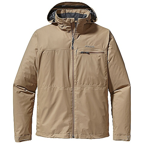Free Shipping. Patagonia Men's Updraft Jacket DECENT FEATURES of the Patagonia Men's Updraft Jacket Made of 2-layer Gore-Tex fabric with Paclite Product Technology Waterproof/breathable full-zip jacket with internal wind flap, zipper garage, and stand-up collar that discreetly stows an adjustable hood with visor reverse-coil, waterproof zippers throughout Zippered horizontal pocket on left chest has internal, padded electronics pocket with cable routing welted, zippered on-seam handwarmer pockets Microfleece-lined back collar for comfort Adjustable drawcord hem and hook-and-loop cuff tabs seal in warmth Hip length The SPECS Regular fit Weight: 12.6 oz / 357 g 2-layer, 2.7-oz 40-denier 100% nylon Gore-Tex fabric with Paclite Product Technology This product can only be shipped within the United States. Please don't hate us. - $279.00