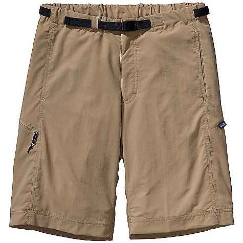 Free Shipping. Patagonia Men's GI III Short DECENT FEATURES of the Patagonia Men's GI III Short Made of a durable and quick-drying nylon taslan fabric with a DWR finish and 50+ UPF sun protection Elasticized waistband with built-in adjustable belt and separating buckle zip fly with button closure Coin-safe, on-seam, front pockets with polyester mesh Zippered Pockets: Right rear, drop-in right thigh with internal key loop both with polyester mesh for drainage Updated fit with relaxed leg opening for improved mobility and comfort The SPECS Relaxed fit Inseam: 10in. 3.4-oz 100% nylon taslan with a DWR finish and 50+ UPF sun protection This product can only be shipped within the United States. Please don't hate us. - $55.00