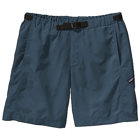 Free Shipping. Patagonia Men's GI III Water 7IN Short DECENT FEATURES of the Patagonia Men's GI III Water 7IN Short Made of quick-drying nylon fabric, with a Deluge DWR finish Elasticized waistband with internal drawstring quick-drying black mesh liner Vertical side pockets reduce drag in water pocketbags with drain-and-dry mesh corners rear snap pocket The SPECS Regular fit Inseam: 7in. 4.2-oz 100% nylon with a Deluge DWR (durable water repellent) finish Lining: 5.2-oz 100% polyester mesh This product can only be shipped within the United States. Please don't hate us. - $55.00
