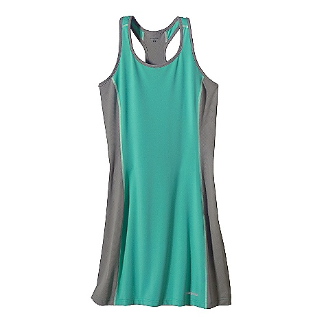 Entertainment Patagonia Women's All Weather Dress DECENT FEATURES of the Patagonia Women's All Weather Dress Durable polyester/spandex blend jersey is soft and supple with Air Flow mesh panels for maximum breath ability and fast dry times Wide straps are sport bra friendly Neckline and arms trimmed with non-binding, moisture-wicking self fabric Single-layer dress provides good coverage, full range of motion, and is suitable for different undergarments Reflective heat-transfer logos at left hem and center back The SPECS Slim fit Weight: 4.7 oz / 133 g 5.6-oz 88% polyester, 12% spandex with 15-UPF sun protection Back Panel: 3.1-oz 100% polyester mesh (30% recycled) This product can only be shipped within the United States. Please don't hate us. - $49.00
