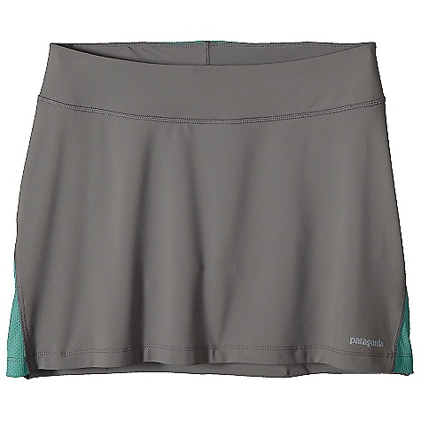 On Sale. Patagonia Women's All Weather Skirt DECENT FEATURES of the Patagonia Women's All Weather Skirt Durable polyester/spandex knit blend is soft and supple with Air Flow mesh insets for maximum breath ability and fast dry times External envelope pocket at center back holds essentials and features a key loop Made of a durable and soft polyester/spandex knit blend Flattering waistband with a lay flat draw cord Center-back envelope pocket with key loop two internal, front drop-in gel pockets Boy-short liner with shaped leg for chafe-free comfort Reflective logo on front and back The SPECS Regular fit Weight: 5.2 oz / 147 g Center Back Length: 12 1/2in. 5.6-oz 88% polyester/12% spandex Pocket: 3.2-oz 100% polyester mesh This product can only be shipped within the United States. Please don't hate us. - $21.99