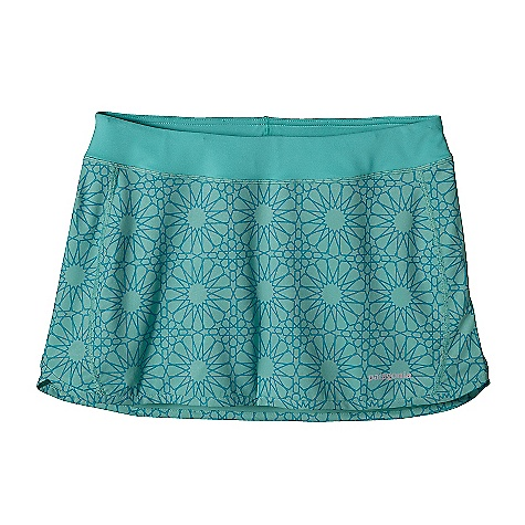 Free Shipping. Patagonia Women's Nine Trails Skirt DECENT FEATURES of the Patagonia Women's Nine Trails Skirt Made of a Recycled Polyester/Spandex Plain-Weave Fabric Single-Layer Skirt with Side Splits at Hem Provide Good Coverage and Full Range of Motion Flattering Waistband with a Lay Flat Draw Cord Two Back Pockets Secure with Hook-And-Loop Closure Boy-Short Liner with a Shaped Leg for Chafe-Free Comfort Reflective Logo at Left Hem The SPECS Regular fit Weight: 4.8 oz / 136 g 3.5 oz 75-Denier 91% All-Recycled Polyester, 9% Spandex Plain Weave Liner: 5.7 oz 80% Polyester, 20% Spandex Knit This product can only be shipped within the United States. Please don't hate us. - $59.00