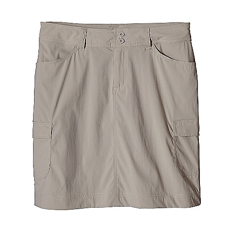 On Sale. Free Shipping. Patagonia Women's Solimar Skirt DECENT FEATURES of the Patagonia Women's Solimar Skirt Lightweight stretch fabric with 30-UPF sun protection and DWR finish Skirt has belt loops, zippered fly and double-button closure Two front drop-in pockets Two back drop-in pockets with flaps Two cargo pockets on thigh Back yoke for shaping 16in. from waistband to hem The SPECS Regular fit Length: 16in. 3-oz 93% nylon, 7% spandex with a DWR (durable water repellent) finish and 30-UPF sun protection This product can only be shipped within the United States. Please don't hate us. - $26.99