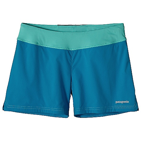 Free Shipping. Patagonia Women's 50K Short DECENT FEATURES of the Patagonia Women's 50K Short Lightweight polyester is tough yet soft against sun/wind chafed-skin Waistband with flat draw cord is constructed of soft jersey and conceals two pockets, which lay flat when not in use External envelope pocket at center back holds additional essentials and features a key loop The SPECS Regular fit Inseam: 4 1/4in. Weight: 4 oz / 113 g Solids: 2.9-oz 85-denier 100% polyester plain weave Yarn Dye: 2.7-oz 85-denier 100% polyester plain weave Liner: 3.8-oz 100% polyester crepe with moisture-wicking performance This product can only be shipped within the United States. Please don't hate us. - $55.00