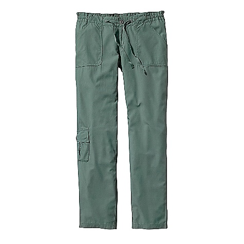 Free Shipping. Patagonia Women's Lanyard Pant DECENT FEATURES of the Patagonia Women's Lanyard Pant Lightweight organic cotton ripstop Zip fly with button closure Drawcord for adjustability Patch front pockets pleated back pockets with button flaps Pleated cargo pocket on right leg Pant leg rolls up to capri length The SPECS Regular fit Low rise Straight leg Inseam: 32in. Weight: 10.1 oz / 286 g 4.3-oz 100% organic cotton ripstop This product can only be shipped within the United States. Please don't hate us. - $79.00