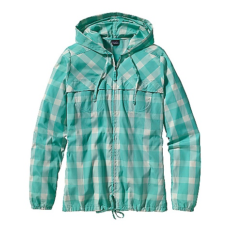 Free Shipping. Patagonia Women's Sun Jacket DECENT FEATURES of the Patagonia Women's Sun Jacket Quick-drying all-recycled polyester nylon blend is exceptionally soft and light with 40-UPF sun protection Hooded, lightweight jacket with a full-length zip Two drop-in chest pockets two hand warmer pockets on lower side seams Flattering front yoke detailing Long sleeves have elasticized cuffs Draw cords on hood and hem Hip length The SPECS Regular fit Weight: 7 oz / 198 g 2.5-oz 57% all-recycled polyester, 43% nylon with 40-UPF sun protection This product can only be shipped within the United States. Please don't hate us. - $99.00