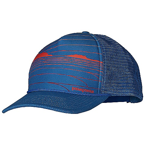 Patagonia Interstate Hat DECENT FEATURES of the Patagonia Interstate Hat High crown, 5-panel photo-front design with mesh back Shapeable bill Moisture-wicking headband Adjustable snaps in back The SPECS Adjustable fit Weight: 3.4 oz / 96 g Crown: 3.2-oz 100% polyester Bill: 13-oz 100% organic cotton canvas This product can only be shipped within the United States. Please don't hate us. - $29.00