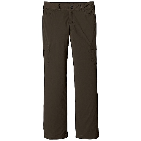 Free Shipping. Patagonia Women's Solimar Pant DECENT FEATURES of the Patagonia Women's Solimar Pant Lightweight stretch fabric with 30-UPF sun protection and Deluge DWR finish Pants have belt loops, zip fly and double-button closure Two front drop-in pockets Two back drop-in pockets with flaps Two cargo pockets on thigh Cuffs roll up to capri length, secure with button Updated styling and pocketing The SPECS Regular fit Inseam: 32in. Weight: 7.1 oz / 201 g 3-oz 93% nylon, 7% spandex with a Deluge DWR (durable water repellent) finish and 30-UPF sun protection This product can only be shipped within the United States. Please don't hate us. - $79.00