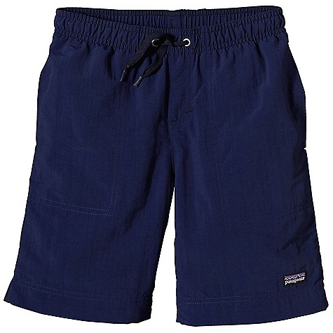 Patagonia Boys' Baggies Short DECENT FEATURES of the Patagonia Boys' Baggies Short Made of Fast-Drying Supplex Nylon with a DWR (Durable Water Repellent) Finish Elasticized Waist with Drawcord for An Adjustable fit Internal Mesh Liner Pockets Feature Mesh Areas for Drainage Bartacks on Pocket Seams Reduce Stress and Wear The SPECS Regular fit Weight: 5.6 oz / 158 g Inseam: 6 1/4in. 4-Ply, 4.2 oz Supplex 100% Nylon with a DWR Finish This product can only be shipped within the United States. Please don't hate us. - $35.00