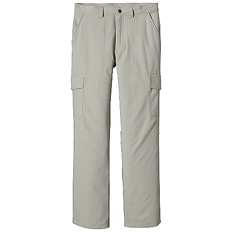 On Sale. Free Shipping. Patagonia Men's Roving Pant DECENT FEATURES of the Patagonia Men's Roving Pant Light-wearing, durable nylon canvas with 50+ UPF sun protection Pants have belt loops, zip fly with metal snap, and double-needle stitching details Two front pockets and welted right-rear drop-in pocket, all with breathable mesh pocket bags Cargo pockets on thighs secure with hidden metal button Gusseted crotch and articulated knees for increased mobility The SPECS Regular fit Weight: 13.5 oz / 382 g Inseam: 32in. 5.4-oz 100% nylon canvas with 50+ UPF sun protection This product can only be shipped within the United States. Please don't hate us. - $46.99
