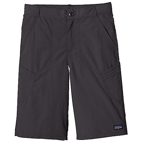 Patagonia Boys' Summit Short DECENT FEATURES of the Patagonia Boys' Summit Short Made of lightweight, quick-drying nylon with a DWR finish and 50+ UPF sun protection Zippered fly with button closure Belt loops and internal waist adjustment Subtle contrast stitch detail on thigh pockets Just below knee length The SPECS Regular fit Inseam: 10in. Weight: 4.3 oz / 122 g 3.4-oz 100% nylon with 50+ UPF sun protection and a DWR (durable water repellent) finish This product can only be shipped within the United States. Please don't hate us. - $39.00