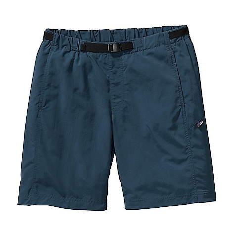 Free Shipping. Patagonia Men's GI III Water 9IN Short DECENT FEATURES of the Patagonia Men's GI III Water 9IN Short Durable, quick-drying nylon twill shorts with a DWR finish and internal mesh liner for land and water use Pull-on shorts with elasticized waistband and built-in adjustable belt with separating buckle Coin safe on-seam front pockets with polyester mesh for drainage Right rear drop-in zip pocket has non-corrosive zipper and polyester mesh for drainage Gusseted crotch for increased mobility The SPECS Regular fit Weight: 8.4 oz / 238 g Inseam: 9in. 3.4-oz 100% nylon taslan with a DWR finish, 50+ UPF sun protection Liner: 100% polyester mesh This product can only be shipped within the United States. Please don't hate us. - $55.00