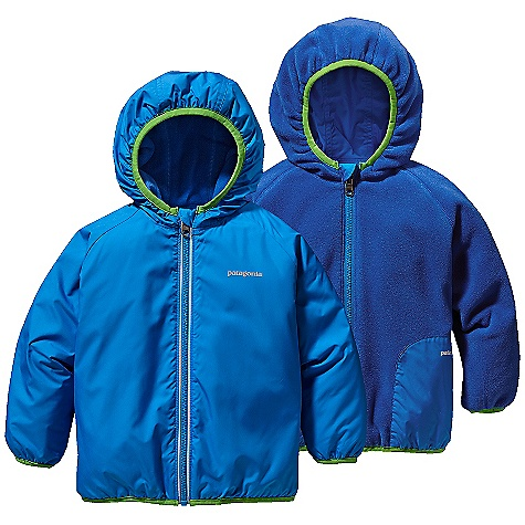 On Sale. Free Shipping. Patagonia Baby Duality Jacket DECENT FEATURES of the Patagonia Baby Duality Jacket Reverses from a water-and wind-resistant Deluge DWR treated polyester shell side to a cozy micro denier fleece side both recycled Fleece side has hand warmer pockets and elbow patches Spandex binding on cuffs, waist and hood holds shape and seals out cold Reflective logo on both sides and reflective zipper on shell side The SPECS Relaxed fit Weight: 7.1 oz / 201 g Shell: 2.3-oz 100% recycled polyester with a Deluge DWR (durable water repellent) finish Fleece: 4.7-oz 100% recycled polyester This product can only be shipped within the United States. Please don't hate us. - $43.99