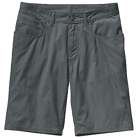 Free Shipping. Patagonia Men's Guild Short DECENT FEATURES of the Patagonia Men's Guild Short Lightweight yet durable washed organic cotton stitched with burly contrast thread Shorts have classic 5-pocket-style, rear yoke and belt loops Zip fly with button closure Slim leg profile The SPECS Regular fit Inseam: 10in. Weight: 8.6 oz / 244 g 5.2-oz 100% organic cotton canvas This product can only be shipped within the United States. Please don't hate us. - $59.00