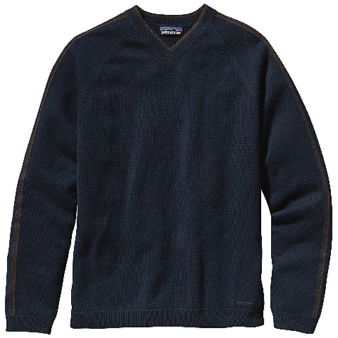On Sale. Free Shipping. Patagonia Men's Wool Cask V - Neck DECENT FEATURES of the Patagonia Men's Wool Cask V-Neck Soft wool blended with 5% cashmere Jersey knit V-neck sweater with rib-knit on cuffs, bottom hem and neckline Contrast knit detail on neck and sleeves The SPECS Regular fit Weight: 13.8 oz / 391 g 9-gauge 95% wool/5% cashmere This product can only be shipped within the United States. Please don't hate us. - $86.99