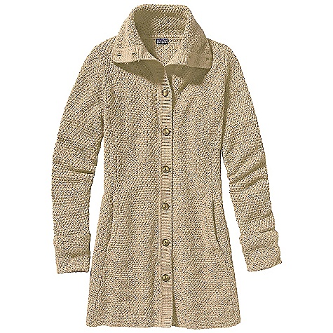 Free Shipping. Patagonia Women's Merino Sweater Coat DECENT FEATURES of the Patagonia Women's Merino Sweater Coat Soft knit Elegant merino wool coat in basket-weave stitch Funnel neck for added warmth, opens to lie flat across shoulders Front placket with button closure Fold-over cuff at sleeve Hand warmer pockets on front princess seams Falls to mid-thigh The SPECS Slim fit Weight: 22 oz / 623 g 7-gauge 100% merino wool This product can only be shipped within the United States. Please don't hate us. - $179.00