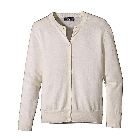 Free Shipping. Patagonia Women's Cotton Cardigan DECENT FEATURES of the Patagonia Women's Cotton Cardigan Jersey Knit in Fine 14-Gauge 70% Organic Cotton/30% Lenzing Modal Classic Long-Sleeved Crewneck Cardigan Delicate Buttons Fine Ribbing At Cuffs and Hem Hip Length The SPECS Regular fit Weight: 6.4 oz / 181 g 14-Gauge 70% Organic Cotton, 30% Lenzing Modal This product can only be shipped within the United States. Please don't hate us. - $79.00