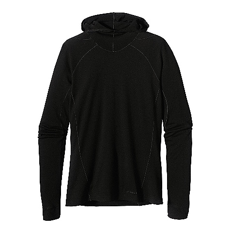 On Sale. Free Shipping. Patagonia Women's Merino 3 MW Hoody DECENT FEATURES of the Patagonia Women's Merino 3 Midweight Hoody Merino wool/polyester blend keeps you dry and comfortable even when wet, is stronger and more durable than 100% wool, has a softer hand, naturally controls odor, and wicks perspiration 18.9 micron-gauge yarn and jersey-knit construction Single-layer, slim-fitting technical hood and high collar provide good coverage Raglan shoulder and sleeve detail seams offset to prevent chafing under layers and packs Hidden thumb loop at cuff for extra hand protection Underarm panels with offset seams maximize range of motion and comfort Slow-washed without chlorine to prevent shrinkage, Bluesign approved fabric Machine-wash cold, tumble dry at low temperature Slim fit The SPECS Weight: 9.6 oz / 272 g Fabric: 6.5-oz 80% chlorine-free merino wool, 20% all-recycled polyester This product can only be shipped within the United States. Please don't hate us. - $80.99