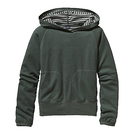 Free Shipping. Patagonia Women's Elysian Hoody DECENT FEATURES of the Patagonia Women's Elysian Hoody Soft double-knit fleece fabric in a cotton, nylon blend Pullover fleece hoody with a solid face and a striped knit interior Hood with lap front Kangaroo hand warmer pockets Wide rib at hem elasticized cuffs Hip length The SPECS Regular fit Weight: 14.4 oz / 408 g 8.8-oz 94% organic cotton, 6% nylon This product can only be shipped within the United States. Please don't hate us. - $99.00