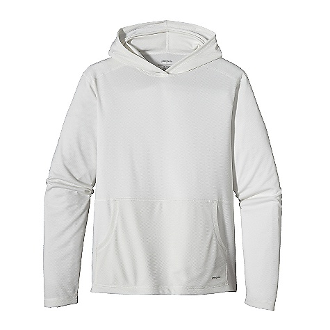 Free Shipping. Patagonia Men's Lightweight Sun Hoody DECENT FEATURES of the Patagonia Men's Lightweight Sun Hoody Made of soft polyester double-knit mesh with 35-UPF sun protection Pullover hoody has a kangaroo-pouch hand warmer pocket Flat seams reduce chafing Straight hem The SPECS Regular fit Weight: 9.6 oz / 272 g 4.9-oz 100% polyester (50% recycled) double-knit mesh with 35-UPF sun protection This product can only be shipped within the United States. Please don't hate us. - $69.00