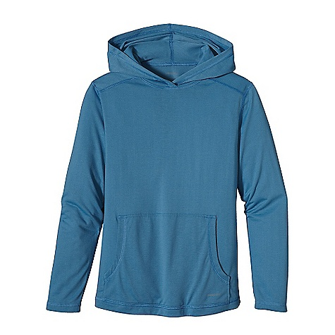 Patagonia Boys' Polarized Hoody DECENT FEATURES of the Patagonia Boys' Polarized Hoody Soft polyester feels like cotton with 20-UPF sun protection Hood provides extra sun-and-wind protection Forward shoulder seams prevent chafing with backpack straps Kangaroo-style front pocket Flat-seamed throughout Updated fabric The SPECS Relaxed fit Weight: 6 oz / 170 g 4.8-oz 100% polyester jersey with 20-UPF sun protection This product can only be shipped within the United States. Please don't hate us. - $45.00