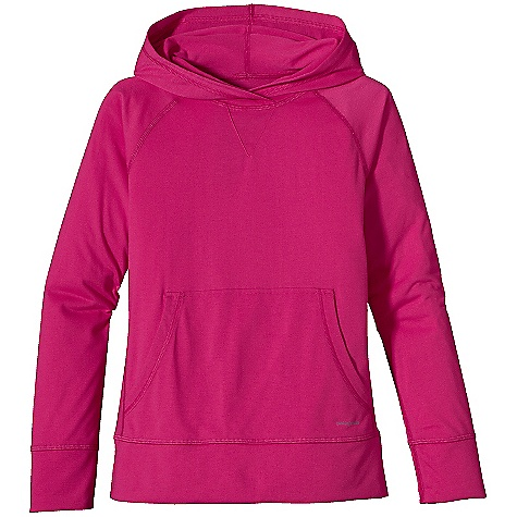 On Sale. Patagonia Girls' Polarized Hoody DECENT FEATURES of the Patagonia Girls' Polarized Hoody Soft polyester feels like cotton with 20-UPF sun protection Hood provides extra sun-and-wind protection with a lap-over front Overlapping hood at neck seam improves wind protection Raglan sleeves and forward side seams Kangaroo-style front pocket Wider hem and cuffs Girl-fit silhouette Updated fabric The SPECS Relaxed fit Weight: 6 oz / 170 g 4.8-oz 100% polyester jersey with 20-UPF sun protection This product can only be shipped within the United States. Please don't hate us. - $21.99