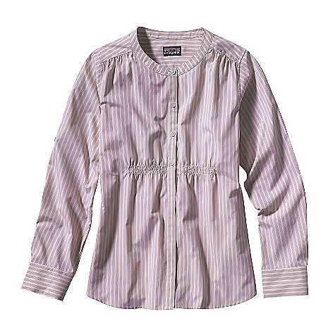 On Sale. Free Shipping. Patagonia Women's Long-Sleeved Sun Shelter Shirt DECENT FEATURES of the Patagonia Women's Sun Shelter Long-Sleeved Shirt Quick-drying recycled polyester/nylon blend is exceptionally soft and airy, with 40-UPF sun protection Mandarin collar Yoke has contrast binding at neck Smock styling is loose and breezy Full-length front placket has hidden lower closures Feminine under bust shirring Sleeves roll up and secure with tab and button On-seam side pockets Hip length Regular fit The SPECS Weight: 158 g / 5.6 oz Fabric: 2.5-oz. 57% all-recycled polyester/43% nylon with 40-UPF sun protection Recyclable through the Common Threads Recycling Program This product can only be shipped within the United States. Please don't hate us. - $33.99