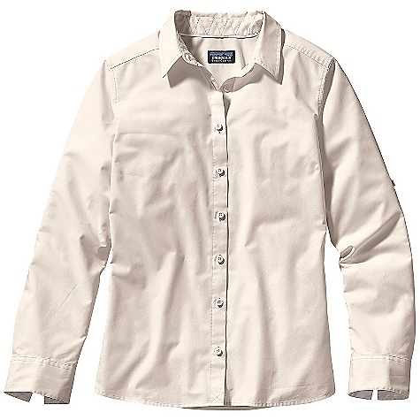 Free Shipping. Patagonia Women's Long Sleeve Indies Shirt DECENT FEATURES of the Patagonia Women's Long Sleeve Indies Shirt Soft, versatile organic cotton, polyester blend Classic shirt-styling with a buttoned front placket Long sleeves with cuffs that can be rolled up and secured with tabs Flattering back princess seaming and yoke detail for a flattering shapeing Contrast top stitching, piping at inside neck and contrast inside cuffs add feminine appeal Hip length The SPECS Regular fit Weight: 7 oz / 198 g 3.7-oz 70% organic cotton, 30% polyester poplin This product can only be shipped within the United States. Please don't hate us. - $59.00