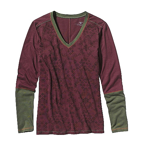 Free Shipping. Patagonia Women's Long Sleeve Necessity V-Neck Top DECENT FEATURES of the Patagonia Women's Long-Sleeved Necessity V-Neck Top Organic cotton/Tencel blend with textured slub Long sleeve V-neck top with print graphic on front and back Contrast stitching at neck, hem and cuffs Wide sleeve cuff in contrast color Hip length The SPECS Regular fit Weight: 5.8 oz / 164 g 4.8-oz 55% organic cotton/45% Tencel slub knit This product can only be shipped within the United States. Please don't hate us. - $59.00