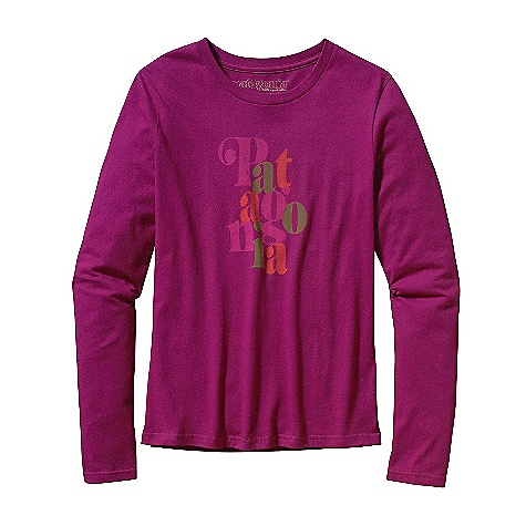 Patagonia Women's Long Sleeve Overlap Logo T-Shirt DECENT FEATURES of the Patagonia Women's Long-Sleeved Overlap Logo T-Shirt Screen-print inks are PVC- and phthalate-free Taped shoulder seams for comfort Artist: Jeff Canham The SPECS Classic Boy fit Weight: 4.4 oz / 125 g 4.4-oz 100% organic cotton This product can only be shipped within the United States. Please don't hate us. - $40.00