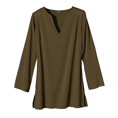 Free Shipping. Patagonia Women's Guadalupe Tunic DECENT FEATURES of the Patagonia Women's Guadalupe Tunic Light-and-airy organic cotton lawn fabric Open V-neck Stitched pleat detail at sleeves and hem Below-hip length with side slit The SPECS Regular fit Weight: 4.8 oz / 136 g 2.2-oz 100% organic cotton This product can only be shipped within the United States. Please don't hate us. - $69.00