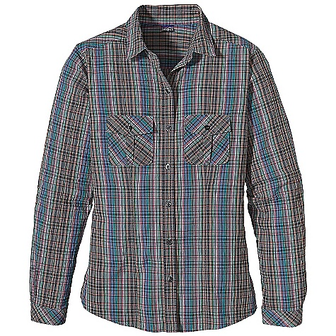 On Sale. Free Shipping. Patagonia Women's L-S Gardener Shirt DECENT FEATURES of the Patagonia Women's Long Sleeve Gardener Shirt Light and airy organic cotton lawn fabric Classic long-sleeved shirt Full-length placket with delicate buttons Two small chest pockets with pleat details and buttoned flaps Double-button cuffs Pleated back yoke Hip length The SPECS Regular fit Weight: 4.8 oz / 136 g 2.2-oz 100% organic cotton This product can only be shipped within the United States. Please don't hate us. - $50.99