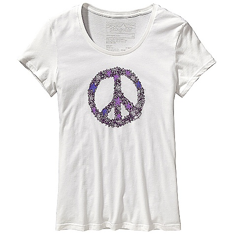 Patagonia Women's Peace Sign T-Shirt DECENT FEATURES of the Patagonia Women's Peace Sign T-Shirt Screen-print inks are PVC- and phthalate-free Taped shoulder seams for comfort Super soft, 40 singles 100% organic cotton jersey The SPECS Weight: 3.28 oz / 93 g 4-oz 100% organic cotton Anika fit This product can only be shipped within the United States. Please don't hate us. - $35.00