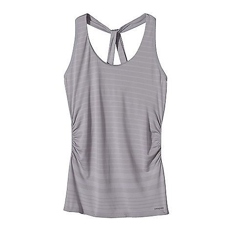 Surf Free Shipping. Patagonia Women's Nouli Tank DECENT FEATURES of the Patagonia Women's Nouli Tank Ultra Stretchy, Soft Fabric Offers Excellent Shape Retention, Wicks Moisture and Dries Fast Scoop Neck Tank with Slide T-Back Detailing Delicate Gathers On Lower Side Seam for a Flattering fit Engineered Stripe Hip Length The SPECS Slim fit Weight: 5.4 oz / 153 g 7.6 oz 97% Polyester, 3% Spandex Knit This product can only be shipped within the United States. Please don't hate us. - $59.00