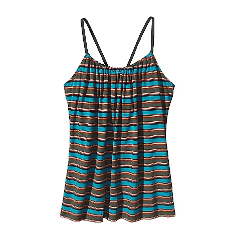 Surf Patagonia Women's Tanager Tank DECENT FEATURES of the Patagonia Women's Tanager Tank Soft and stretchy organic cotton Loose, strappy tank slides on tie straps Ties adjust at center back Hip length The SPECS Regular fit Weight: 4.9 oz / 138 g 4.8-oz 55% organic cotton, 45% Tencel jersey This product can only be shipped within the United States. Please don't hate us. - $49.00