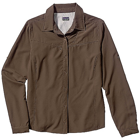 Free Shipping. Patagonia Women's Sol Patrol Shirt DECENT FEATURES of the Patagonia Women's Sol Patrol Shirt Quick-drying polyester with tight weave is exceptionally soft and light, with 30-UPF rating for sun protection Hidden zippered chest pocket Flattering princess seaming and yoke detail Roll-up sleeve with fastener Hemostat flap The SPECS Regular fit Weight: 150 g / 5.3 oz Recyclable through the Common Threads Recycling Program 2.2-oz 100% ripstop polyester with 30-UPF sun protection This product can only be shipped within the United States. Please don't hate us. - $79.00