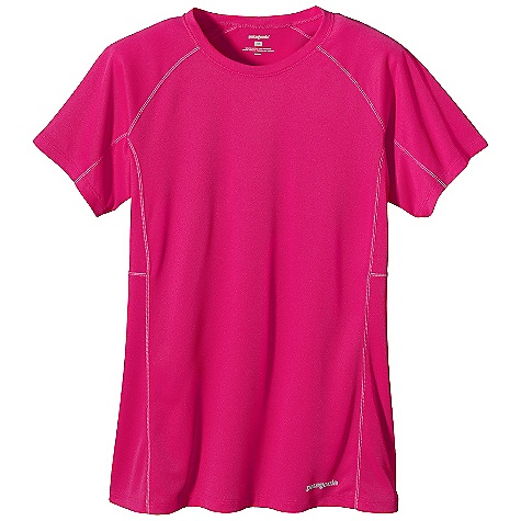Patagonia Women's S-S Fore Runner Shirt DECENT FEATURES of the Patagonia Women's Short Sleeve Fore Runner Shirt Super soft polyester double knit fabric with 30-UPF sun protection wicks moisture and is highly breathable Feminine self-fabric crewneck Offset shoulder seams for minimum chafe Reflective heat-transfer logo at left hem and center back The SPECS Slim fit Weight: 3.7 oz / 104 g 3.5-oz 100% polyester double knit with Gladiodor odor control for the garment This product can only be shipped within the United States. Please don't hate us. - $39.00