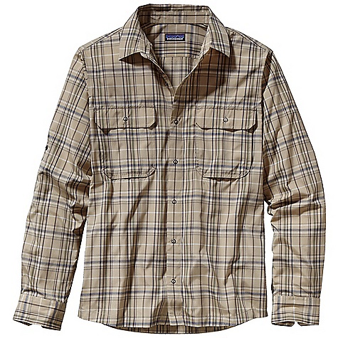 Free Shipping. Patagonia Men's Long-Sleeved El Ray Shirt DECENT FEATURES of the Patagonia Men's Long-Sleeved El Ray Shirt Easy-care polyester/nylon blend with reinforced contrast bartacks Quick-drying, wrinkle-resistant fabric Ring-snap placket Chest pockets with flaps secure with ring snaps Roll-up sleeves secure with snaps Provides 40-UPF sun protection Shirttail hem The SPECS Regular fit 2.5-oz 57% all-recycled polyester, 43% nylon, with 40-UPF sun protection Weight: 7.5 oz / 212 g This product can only be shipped within the United States. Please don't hate us. - $79.00