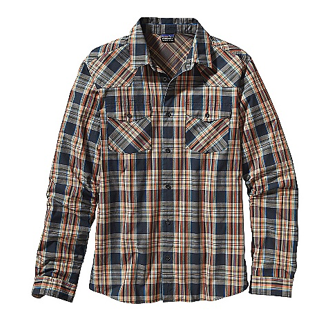 On Sale. Free Shipping. Patagonia Men's Long Sleeve Good Shirt DECENT FEATURES of the Patagonia Men's Good Long Sleeve Shirt Soft, and lightweight 100% organic cotton ripstop Traditional long-sleeved button-front shirt with western yoke Two button chest pockets with flap closures Contrast plaids on inner cuff and back of neck Shirttail hem The SPECS Regular fit Weight: 8.4 oz / 238 g 3.7-oz 100% organic cotton ripstop This product can only be shipped within the United States. Please don't hate us. - $58.99