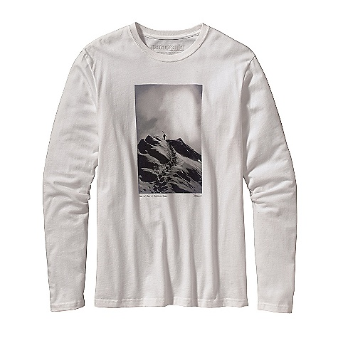 Camp and Hike Patagonia Men's Long Sleeve Hike On The Ridge T-Shirt DECENT FEATURES of the Patagonia Men's Long-Sleeved Hike On The Ridge T-Shirt Screen-print inks are PVC- and phthalate-free Taped shoulder seams for comfort Artist: Steve Markowitz The SPECS Slim fit Weight: 5.4 oz / 153 g 5.4-oz 100% organic cotton This product can only be shipped within the United States. Please don't hate us. - $40.00