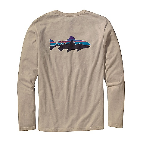 Patagonia Men's Long Sleeve Trout Fitz Roy T-Shirt DECENT FEATURES of the Patagonia Men's Long-Sleeved Trout Fitz Roy T-Shirt Screen-print inks are PVC- and phthalate-free Taped shoulder seams for comfort Artist: Jeff Kennedy Regular fit The SPECS Weight: 5.4 oz / 153 g Fabric: 5.4-oz 100% organic cotton This product can only be shipped within the United States. Please don't hate us. - $40.00