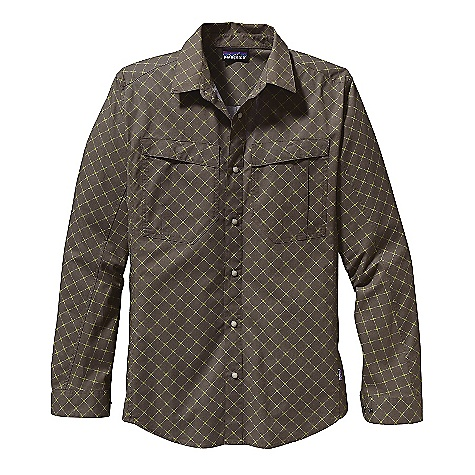 On Sale. Free Shipping. Patagonia Men's L-S All Stone Shirt DECENT FEATURES of the Patagonia Men's Long Sleeve All Stone Shirt Lightweight-yet-durable printed 100% organic cotton Button-front shirt with western snaps on placket and cuffs Patch chest pockets have a single pleat and envelope entry with hidden snaps Gusseted underarm panel enables full range of motion during active pursuits Shirttail hem The SPECS Slim fit Weight: 8.9 oz / 252 g 3.5-oz 100% organic cotton This product can only be shipped within the United States. Please don't hate us. - $47.99